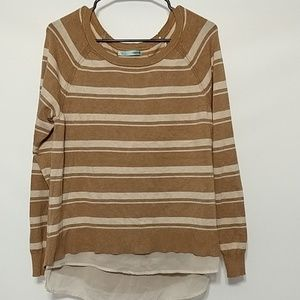Maurices brown cream stripe sweater Large